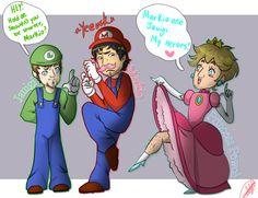 Jacksepticeye Markiplier and Pewdiepie as Luigi Mario and Princess Peach