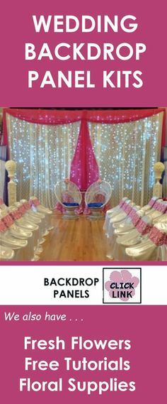 Gorgeous kits to create your own stunning wedding backdrops.  Check out everything from ceiling draping to table skirting.  Free fresh flower tutorials.