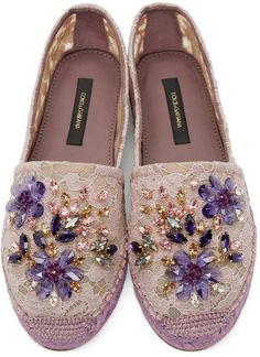 Dolce & Gabbana | Purple Embellished Lace Espadrilles | Accessories | Shoes