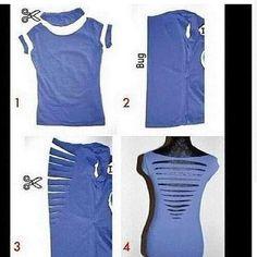 Gran idea para convertir una vieja blusa vieja a nueva