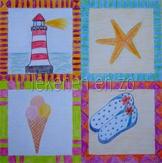 You need: square drawing sheet 20 x 20 cm colour pencils Divide the sheet in four squares. Draw in every square your own summer memory!