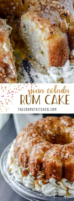 Pina Colada Rum Cake - A moist, boozy upside-down rum cake, infused with everything coconut, and crowned with a pineapple halo, toasted coconut caramel sauce. Just Desserts, Delicious Desserts, Dessert Recipes, Food Cakes, Cupcake Cakes, Cupcakes, Pina Colada Cake, Pina Colada Pound Cake Recipe, Pineapple Bundt Cake Recipe