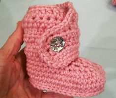 Baby Girl BootsPink with Crystal Look  ButtonsCrochet by togs4tots, $20.00