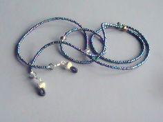 Navy Blue Eyeglass Lanyard Chain with Silver Accents | sassylu - Accessories on ArtFire