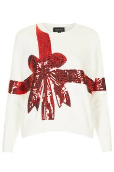 Topshop UK Knitted Sequin Present Jumper