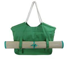 Green Canvas Beach Tote Bag w:Beach Mat-Boardwalk Style Yoga Mat Bag, Striped Bags, Beach Tote Bags, Printed Bags, Cute Crafts, Luggage Bags, Gym Bag, Pouch, Stuff To Buy