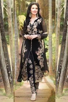 Black Heavy Designer Embroidered Suit  Best Price   380806