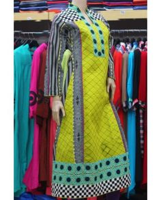 I LUV Designer - 3 Three Piece Suit Pakistani Designer Pink Kurti Kurties Kurta Kurtas Kameez Qameez long Tunic Shirt in cotton Patch Work summer 2013 collection in UK United Kingdom Manchester London Birmingham Bradford by Polka Dots Pakistan in UK - Pakistani Dresses Latest Fashion