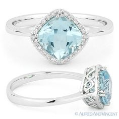 Gemstone 177020: 2.00Ct Cushion Cut Blue Topaz And Diamond Halo Engagement Ring In 14K White Gold BUY IT NOW ONLY: $359.1