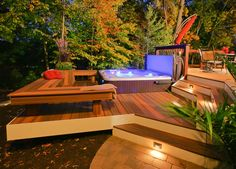 Backyard Deck Design by no means walk out types. Backyard Deck Design may be embellished in several techniques every househol Jacuzzi Outdoor, Outdoor Spa, Outdoor Living, Exterior Tradicional, Hot Tub Deck, Hot Tub Backyard, Backyard Pools, Nice Backyard, Spa Design