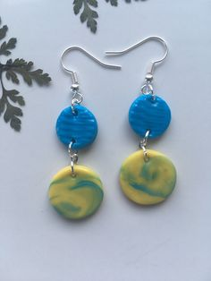 Excited to share this item from my #etsy shop: Polymer clay earrings marble design / Statement jewelry / Unique gift