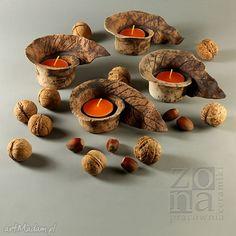 Lampion jesienny liść ceramika pracowniazona świecznik jesień