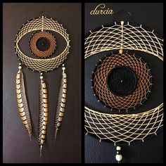Dream catcher-shaped eye, Brown and cream 20 centimetres in diameter, total length about 49 cm, wooden beads, three natural pheasant feathers