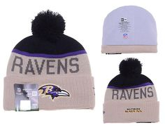 Mens Womens Baltimore Ravens New Era 2016 NFL Gray Sport Vivid Team Logo  Cuff Knit Pom Beanie Cap - Grey   Black 22d6c27d620d