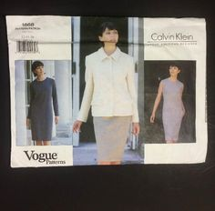 Vogue American Designer sewing pattern by Calvin Klein, 1868. Jacket and dress, size 12 14 16. Uncut FF Factory Folded.1996