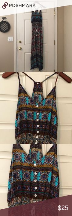 Floor length dress FP look a like Free People look a like front slits and on both sides gathered waist with white buttons and tie in front new without tags multi color rust teal dark blue tan with multi designs Dresses Maxi