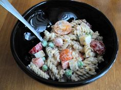 Comforting Pasta Salad - GLUTEN FREE!!  INGREDIENTS:  250 g pasta (I used gluten-free corn pasta) 1 egg, cooked and diced 1 big carrot, diced 6 cherry tomatoes, quartered 60 g peas, cooked 100 g gouda cheese, cubed (may leave out or reduce) 200 g sour cream (fat-reduced is fine or use yoghurt) 3 teaspoons mixed Italian herbs 1/4 teaspoon paprika 1/8 teaspoon garlic powder 1/4 teaspoon salt pepper  DIRECTIONS:  Directions:  1 Boil pasta according to package directions. Strain and add to a big…