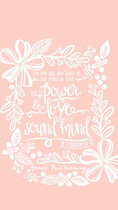 """""""For God has not given us a spirit of fear; but of power and of love and of a sound mind.""""Get this print in my shop & check out all the color options!Read the story behind Encouraging Wednesdays. Bible Verses Quotes, Encouragement Quotes, Bible Scriptures, Good Quotes, Quotes Inspirational, French Press Mornings, Spirit Of Fear, Favorite Bible Verses, God Is Good"""