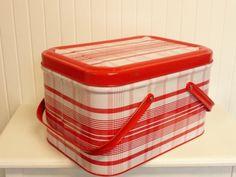 NEAR MINT Vintage Red Plaid Picnic Basket Tin by NewLifeVintageRVs