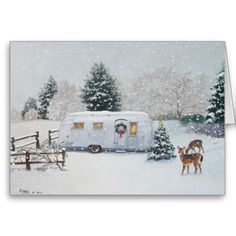 """White Christmas"" 1955 Airstream Flying Cloud by Paige Bridges Retro Christmas, Vintage Christmas Cards, Christmas Art, White Christmas, Christmas Holidays, Xmas, Holiday Cards, Christmas Houses, Christmas Morning"
