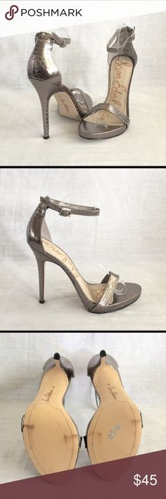 """Sam Edelman Eleanor Ankle Strap Sandal Measures about 9.7"""" from heel to toe and 3"""" at the widest part.  The heels are 4.75"""" and the platform 0.75"""".  Metallic gray faux snakeskin embossed leather and ankle strap with a buckle closure.  Never used.  The bottom sole has transfer marks from storage.  No box.  No trades. Sam Edelman Shoes Platforms"""