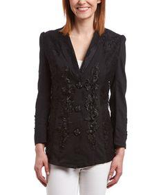 Look at this #zulilyfind! Black Floral Linen-Blend Jacket #zulilyfinds