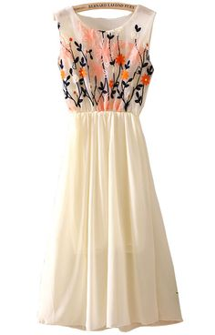Lovely Apricot Sleeveless Embroidery Pleated Chiffon Dress - perfect to wear to a wedding this summer.