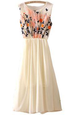 Gorg...Apricot Sleeveless Embroidery Pleated Chiffon Dress