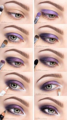Violet Eyes Makeup Step by Step Picture Tutorial – Make Up Time Eye Makeup Steps, Natural Eye Makeup, Blue Eye Makeup, Makeup For Brown Eyes, Smokey Eye Makeup, Eyeshadow Makeup, Makeup Brushes, Eyeliner, Eyeshadow Palette