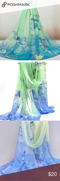 Beautiful Blue & Green Chiffon Floral Scarf. Beautiful Blue & Green Chiffon Floral Scarf. Flower & Birds Printed Chiffon Scarf. Soft and lightweight. Material: Chiffon. Size: 160cm*50cm. Great accessory for all occasions. Brand New. Accessories Scarves & Wraps