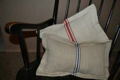 Pillows from vintage grainsacks, tutorial on site. Follow me for great home decor DIY projects!