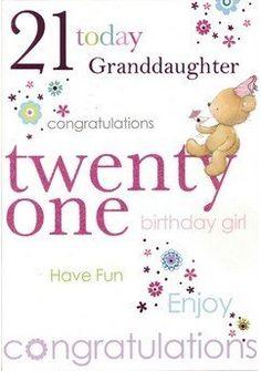 Happy 21st birthday love nana my awesome grandsonhayden girls white pink glitter flowers bear granddaughter your 21 today happy 21st birthday m4hsunfo