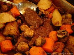 Southern With A Twist: Sunday Pot Roast. Easy and delicious. Pork Recipes, Cooking Recipes, Kitchen Recipes, Steak Dishes, Best Pot Roast, Southern Recipes, Southern Food, Southern Comfort, One Pot Meals