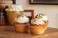 Dom DeLuise cupcake (pistachio cake with cannoli buttercream) from  Food52 by Allison Robicelli and Matt Robicelli