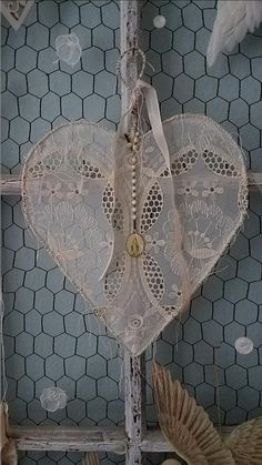 Vintage St. Mary medal Shabby Chic wire lace heart