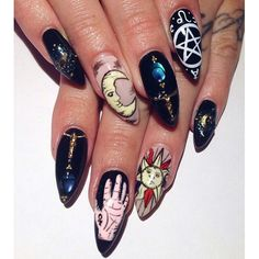 Occult stiletto nail designs