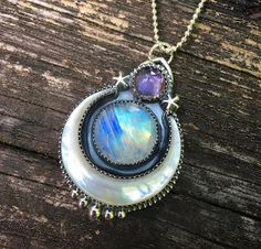 Sterling silver, mother of pearl, amethyst and rainbow moonstone Lunar Dream pendant by Lavender Star Designs