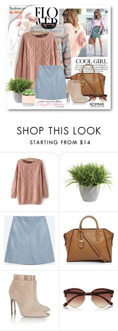 """""""Cable Knit Loose Pink Sweater"""" by bmaroso ❤ liked on Polyvore featuring WithChic, Ethan Allen, Zara, DKNY, Sergio Rossi, River Island, Hostess, women's clothing, women and female"""