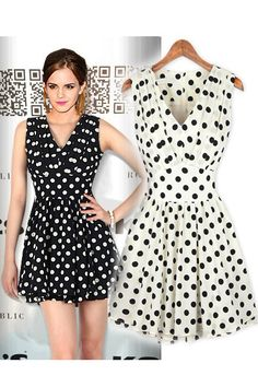 Pleated chiffon polka dot dress. I really love the white with black polka dots; it's light and airy but also formal