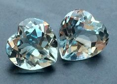 Aquamarine Heart 2 Pcs Matched Pairs 7mm Each by gemsforjewels