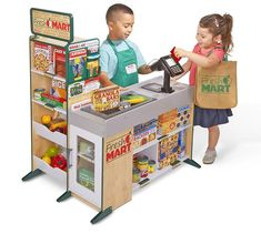 Let your little shopper's imagination run wild through the aisles of the Fresh Mart Grocery Store from Melissa & Doug. The wooden play space comes with stocked shelves and a cash register with a working conveyor belt and card machine. Kids Grocery Store, Pizzeria, Melissa & Doug, Dramatic Play, Kitchen Sets, Toy Kitchen, Pretend Play, Role Play, Pretend Food
