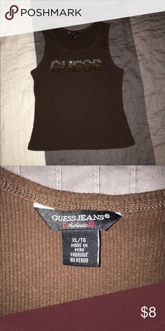 Guess tank top Cute brown guess tank top. Size XL but fits like a small GUESS Tops Tank Tops