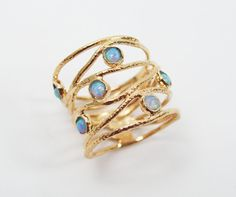 Gold ring. Opal ring. gold opal ring wide ring by STarLighTstudiO3, $55.00