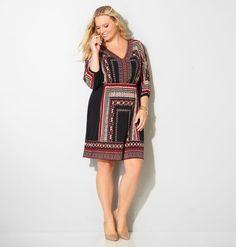 Aztec Border Blouson Dress,