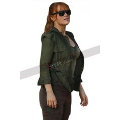 Jurassic World Fallen Kingdom Claire Dearing Green Cotton Jacket Jurassic World Claire, Jurassic World Fallen Kingdom, Claire Dearing, Bryce Dallas Howard, Falling Kingdoms, Chris Pratt, Cotton Jacket, Green Cotton, Military Jacket