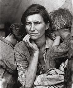 """""""Migrant Mother""""  For many, this picture of Florence Owens Thompson (age 32) represents the Great Depression. She was the mother of 7 and she struggled to survive with her kids catching birds and picking fruits. Dorothea Lange took the picture after Florence sold her tent to buy food for her children. She made the first page of major newspapers all over the country and changed people's conception about migrants."""