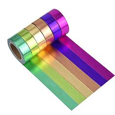 Mudder Rainbow Washi Masking Tape Collection DIY Sticker Set Pack of 6 * Details can be found by clicking on the image. Stationary Supplies, Stationary School, Cute Stationary, Cool School Supplies, Craft Supplies, Scotch, Holiday Crafts For Kids, Diy Stickers, Tapas