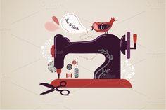 Vintage sewing machine illustration