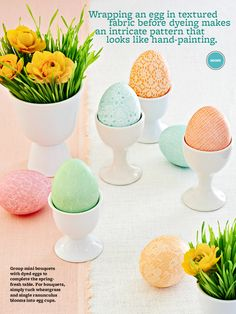 Fabric and eggs and dye equals feminine little Easter eggs. Created by Suzanne at Urban Comfort, Patterned Easter Eggs as styled for Better Homes and Gardens March, 2013 issue.