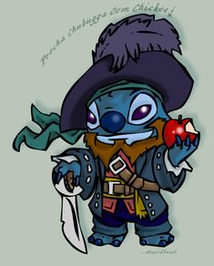 Stitch as Captain Barbossa, this is beautiful. Lilo And Stitch 2002, Lelo And Stitch, Disney Magic, Disney Art, 626 Stitch, Stitch Drawing, Disney Clipart, Stitch And Angel, Disney Crossovers